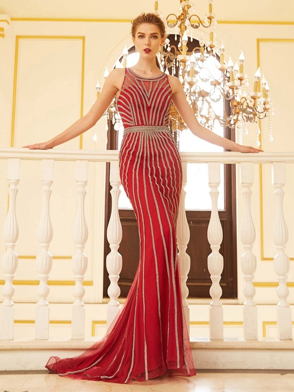 Sheath Net Scoop Sleeveless Sweep/Brush Train With Beading Dresses