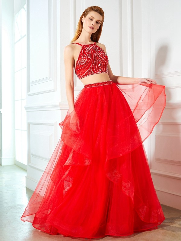 A-Line Tulle Spaghetti Straps Sleeveless Floor-Length With Beading Two Piece Dresses