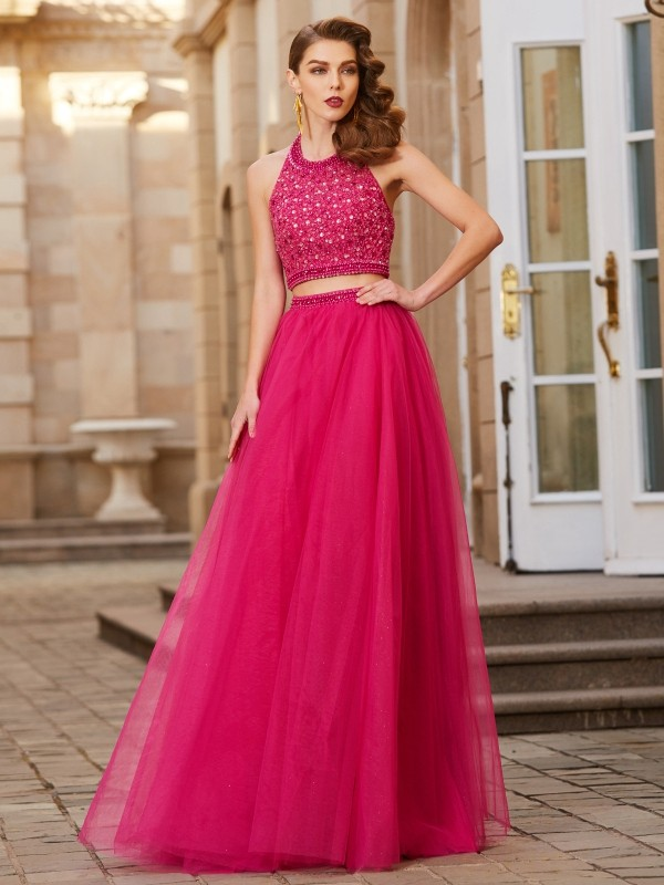 A-Line Tulle Halter Sleeveless Floor-Length With Beading Two Piece Dresses