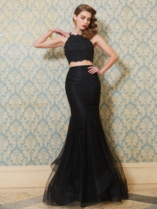 Mermaid Tulle Spaghetti Straps Sleeveless Floor-Length With Applique Two Piece Dresses
