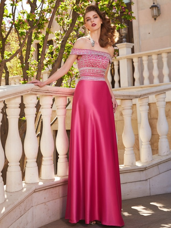 A-Line Satin Off-the-Shoulder Sleeveless Floor-Length With Beading Two Piece Dresses
