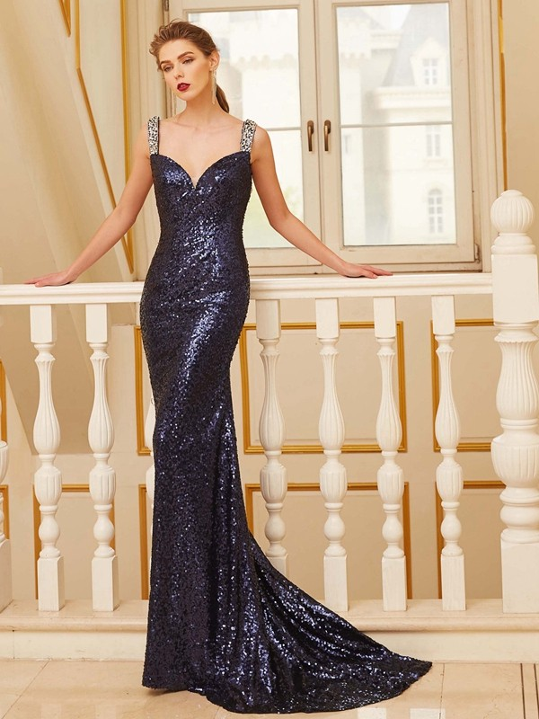 Sheath Sequins V-neck Sleeveless Sweep/Brush Train With Beading Dresses