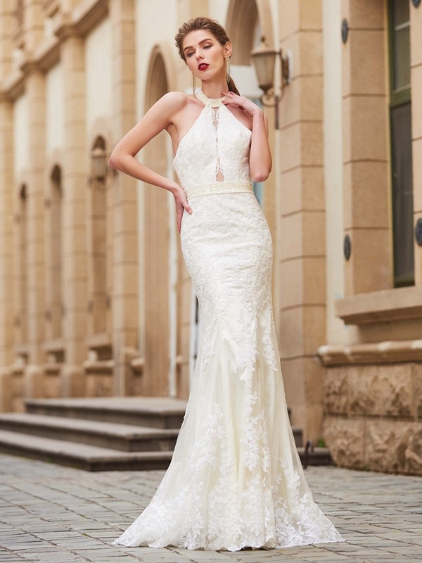 Sheath Lace Jewel Sleeveless Floor-Length With Applique Dresses