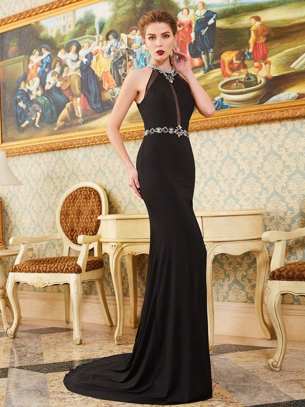 Sheath Spandex High Neck Sleeveless Sweep/Brush Train With Beading Dresses