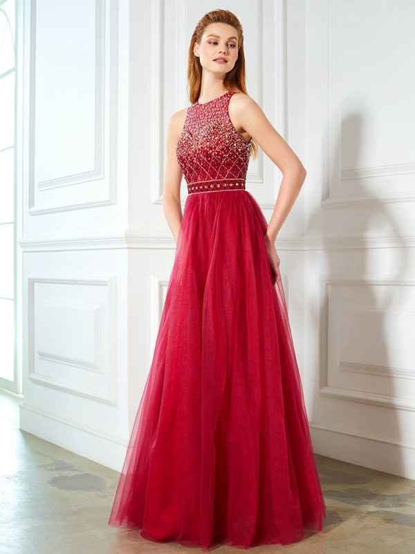 A-Line Tulle Scoop Sleeveless Floor-Length With Beading Dresses