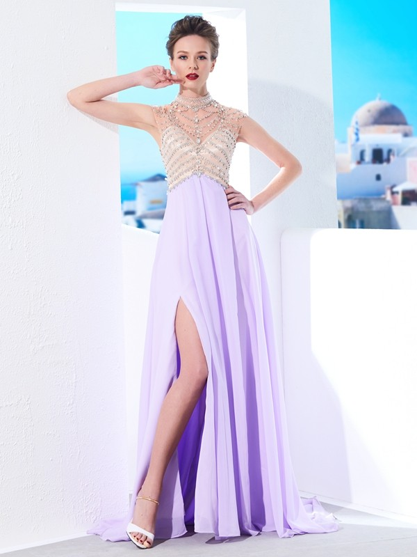 A-Line Chiffon High Neck Sleeveless Sweep/Brush Train With Crystal Dresses
