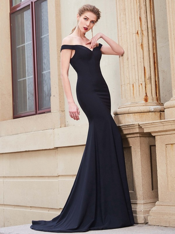 Mermaid Satin Off-the-Shoulder Sleeveless Sweep/Brush Train With Ruffles Dresses