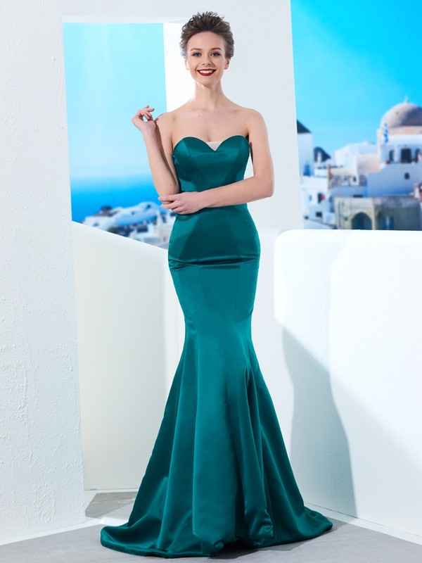 Mermaid Satin Sweetheart Sleeveless Sweep/Brush Train With Ruched Dresses