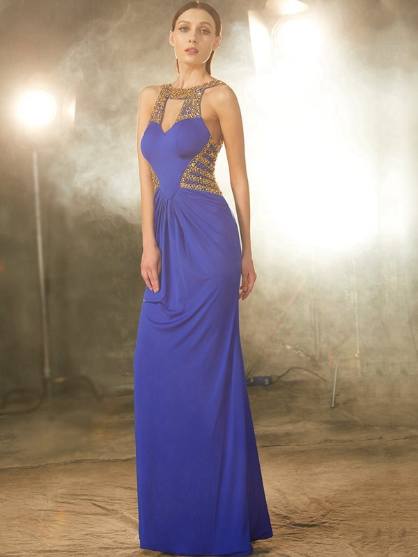 Sheath Spandex Scoop Sleeveless Floor-Length With Beading Dresses