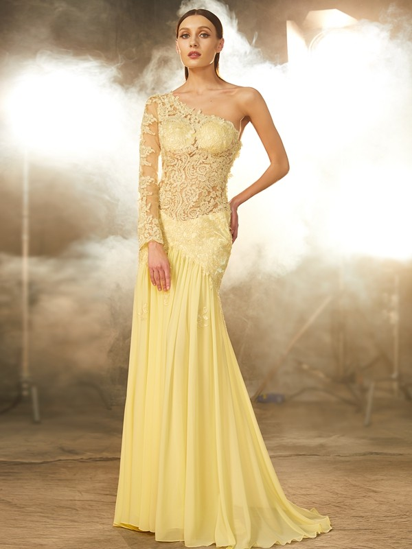 Sheath Chiffon One-Shoulder Long Sleeves Sweep/Brush Train With Lace Dresses