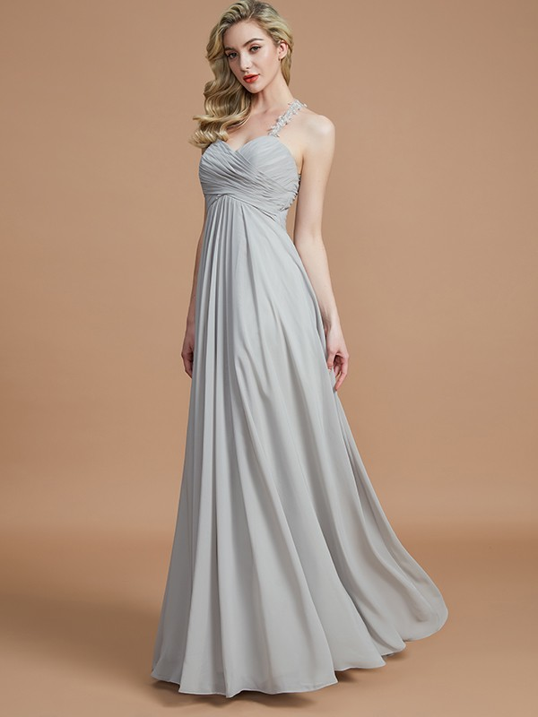 A-Line Sweetheart Sleeveless With Ruched Floor-Length Chiffon Bridesmaid Dresses