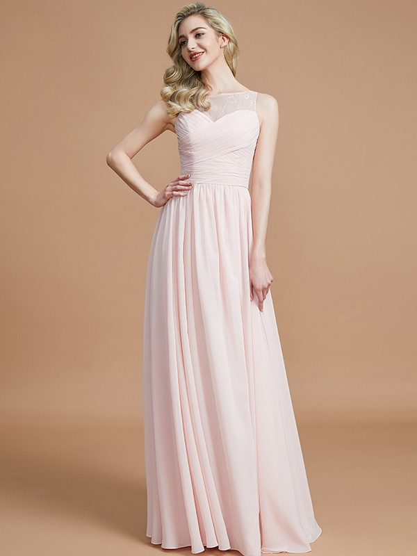 A-Line Bateau Sleeveless With Ruched Floor-Length Chiffon Bridesmaid Dresses