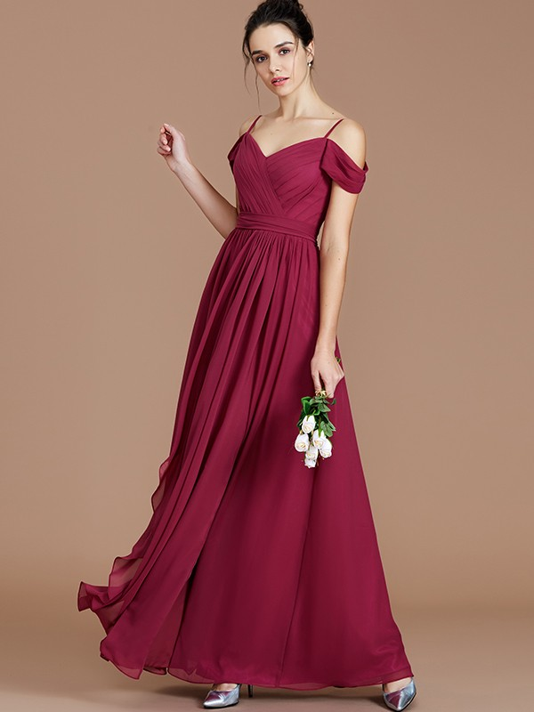 A-Line Off-the-Shoulder Sleeveless With Ruched Floor-Length Chiffon Bridesmaid Dresses