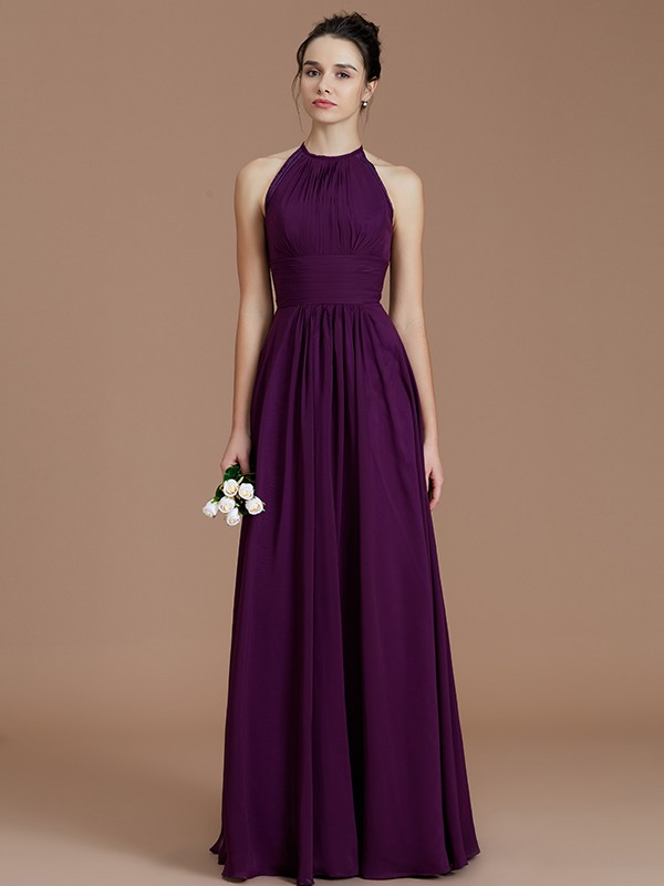 A-Line Halter Sleeveless With Ruched Floor-Length Chiffon Bridesmaid Dresses