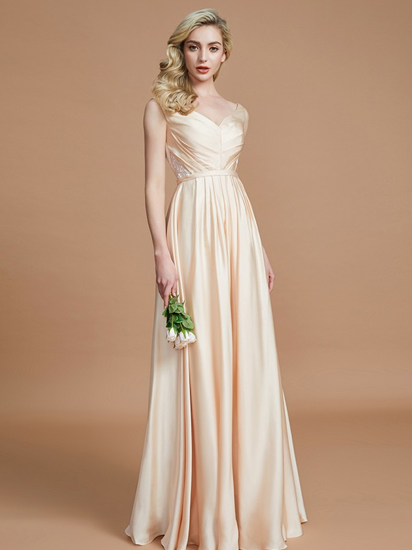 A-Line V-neck Sleeveless With Ruched Floor-Length Satin Chiffon Bridesmaid Dresses