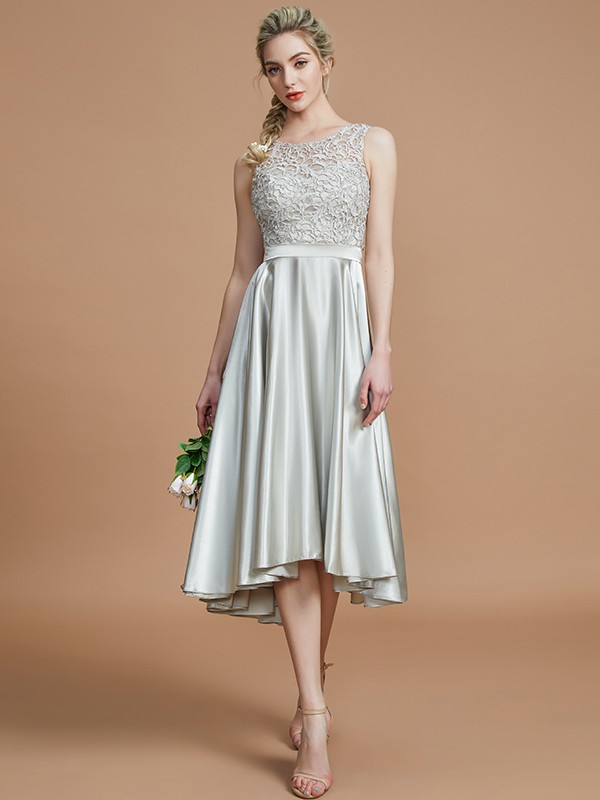 A-Line Bateau Sleeveless With Ruffles Asymmetrical Silk like Satin Bridesmaid Dresses
