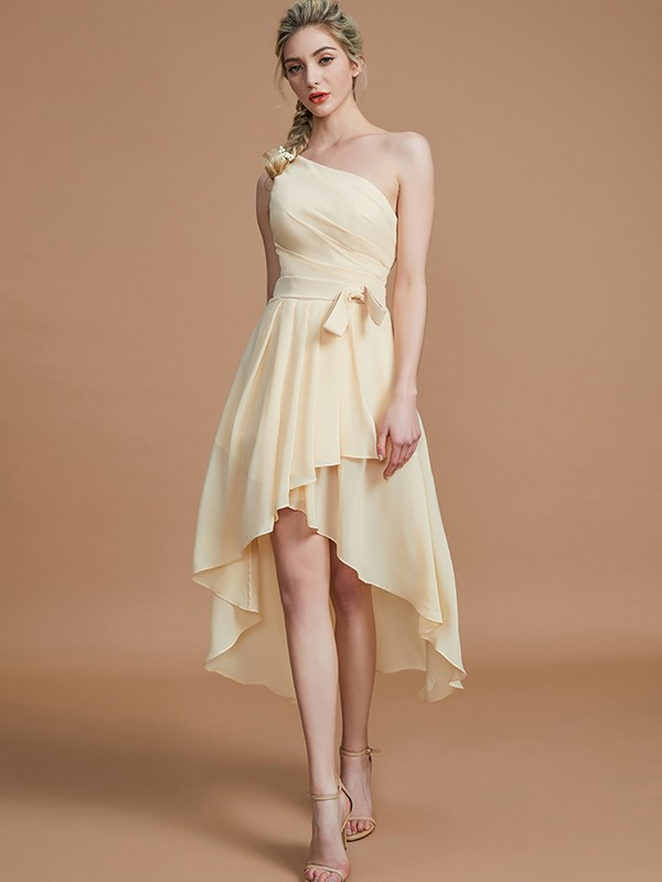A-Line One-Shoulder Sleeveless With Layers Asymmetrical Chiffon Bridesmaid Dresses