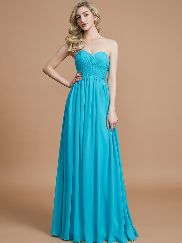 Empire Sweetheart Sleeveless With Ruched Floor-Length Chiffon Bridesmaid Dresses