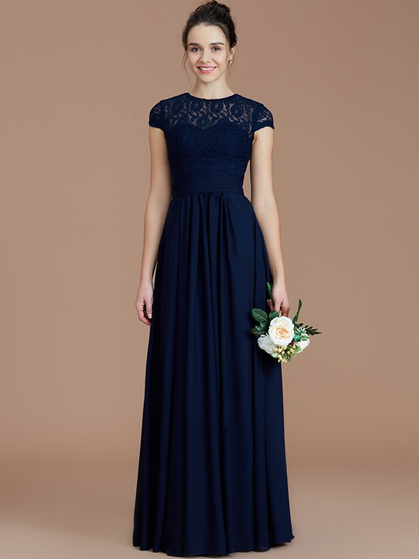 A-Line Jewel Short Sleeves With Lace Floor-Length Chiffon Bridesmaid Dresses