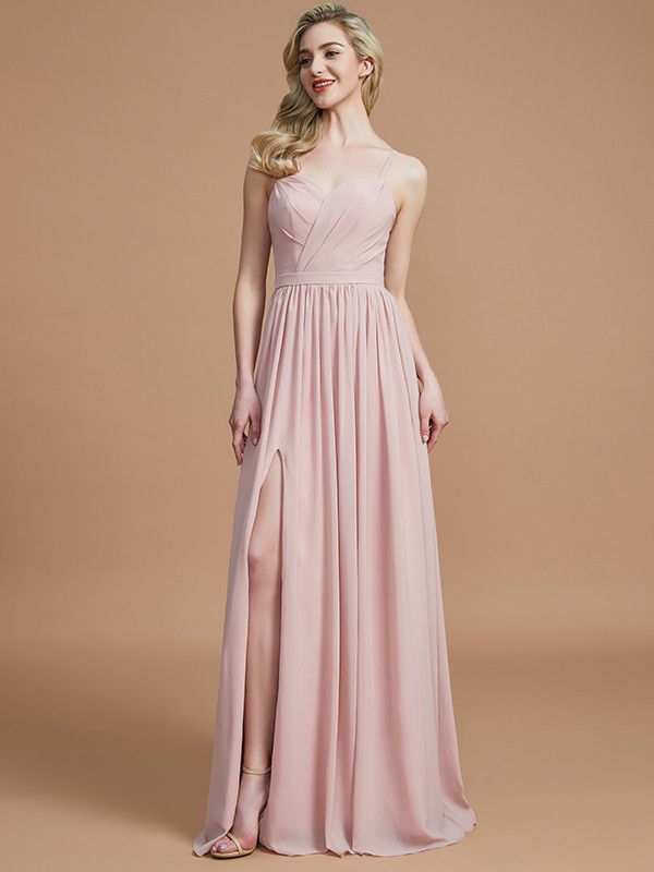 A-Line Spaghetti Straps Sleeveless With Ruched Floor-Length Chiffon Bridesmaid Dresses