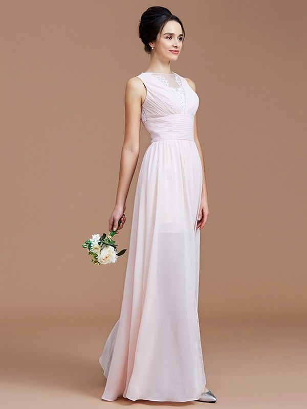 A-Line Jewel Sleeveless With Ruched Floor-Length Chiffon Bridesmaid Dresses
