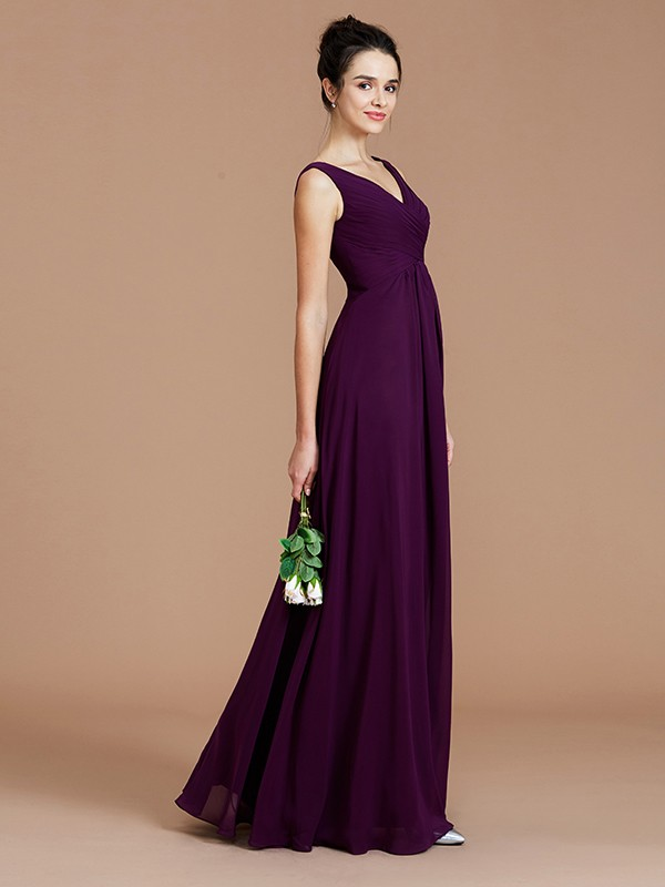 A-Line V-neck Sleeveless With Ruched Floor-Length Chiffon Bridesmaid Dresses