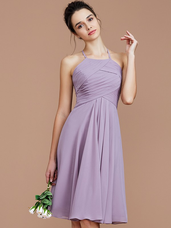 A-Line Halter Sleeveless With Ruched Short/Mini Chiffon Bridesmaid Dresses