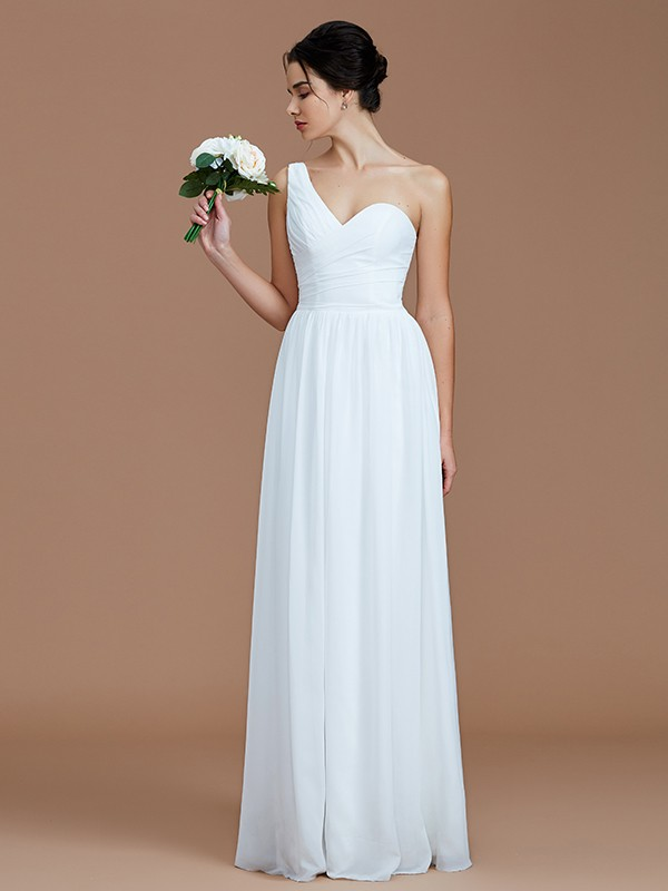 A-Line One-Shoulder Sleeveless With Ruched Floor-Length Chiffon Bridesmaid Dresses