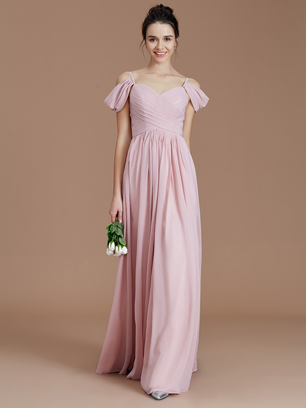 42caed3240d8 A-Line Off-the-Shoulder Sleeveless With Ruched Floor-Length Chiffon  Bridesmaid