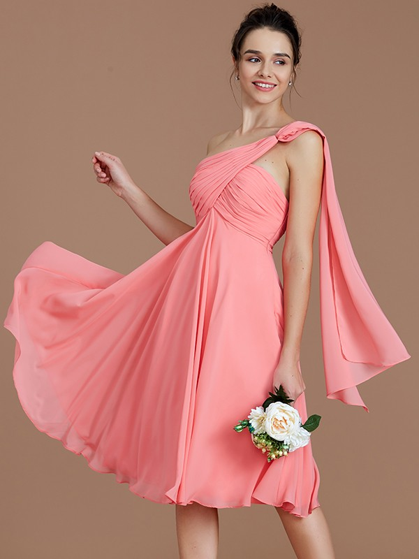 A-Line One-Shoulder Sleeveless With Ruched Short/Mini Chiffon Bridesmaid Dresses