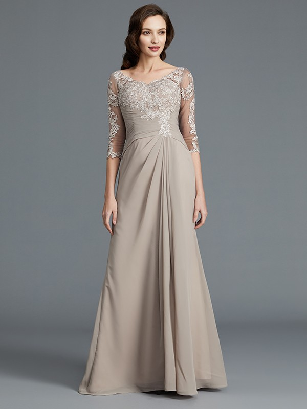 A-Line 1/2 Sleeves Scoop With Applique Chiffon Floor-Length Mother of the Bride Dresses