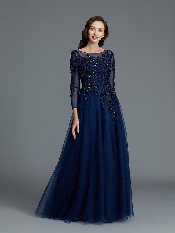 A-Line Long Sleeves Scoop With Beading Floor-Length Tulle Mother of the Bride Dresses