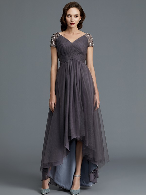 fce350c4b A-Line V-neck Short Sleeves Asymmetrical Tulle Mother of the Bride Dresses