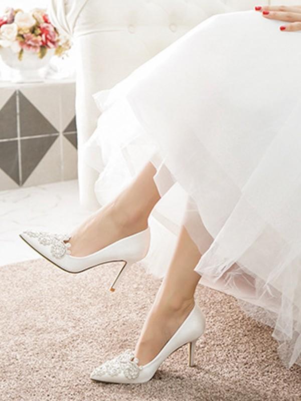 Women's Net Closed Toe With Rhinestone Stiletto Heel High Heels
