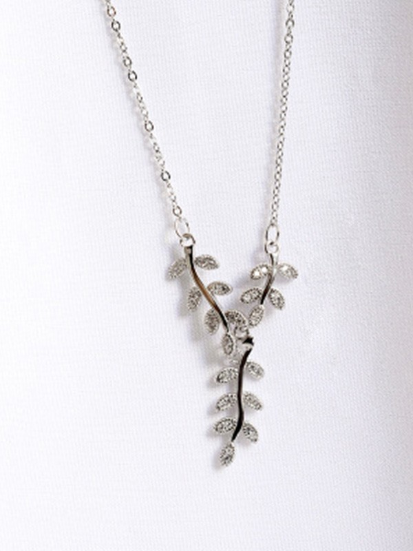 Graceful 925 Sterling Silver Women's Necklaces With Leaf