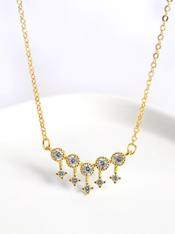 Gorgeous S925 Silver Ladies's Necklaces With Rhinestone