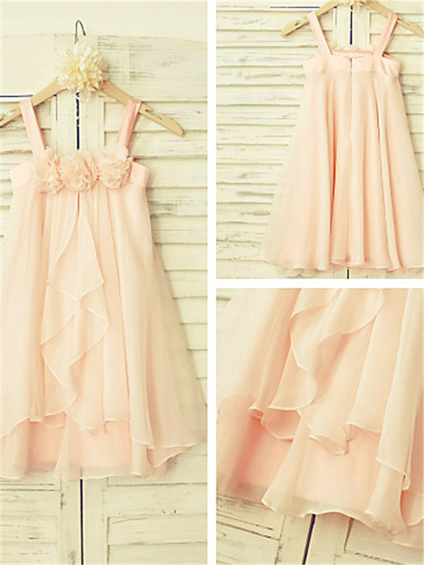 A-Line Chiffon Spaghetti Straps Sleeveless Tea-Length With Ruffles Flower Girl Dresses