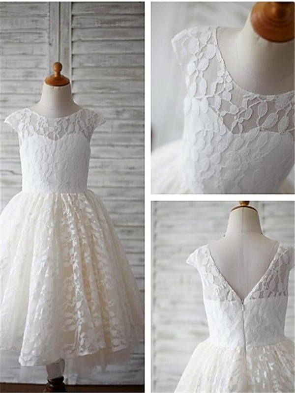 A-Line Lace Scoop Short Sleeves Tea-Length With Lace Flower Girl Dresses