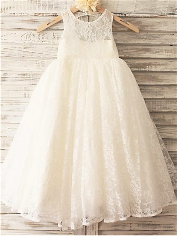A-line/Princess Scoop Sleeveless Floor-Length Lace Flower Girl Dresses