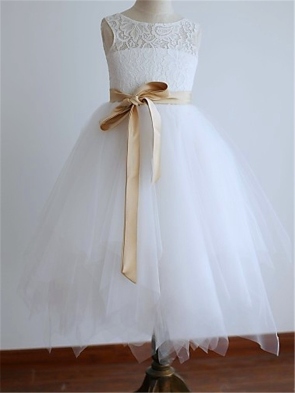 A-Line Tulle Scoop Sleeveless Ankle-Length With Sash/Ribbon/Belt Flower Girl Dresses
