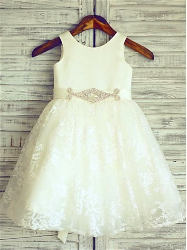 A-Line Lace Scoop Sleeveless Knee-Length With Sash/Ribbon/Belt Flower Girl Dresses