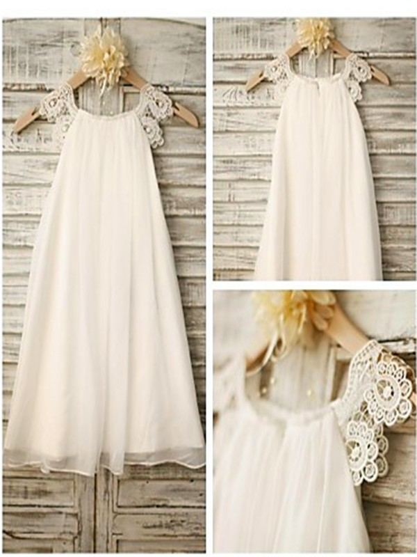 A-Line Chiffon Scoop Sleeveless Tea-Length With Lace Flower Girl Dresses