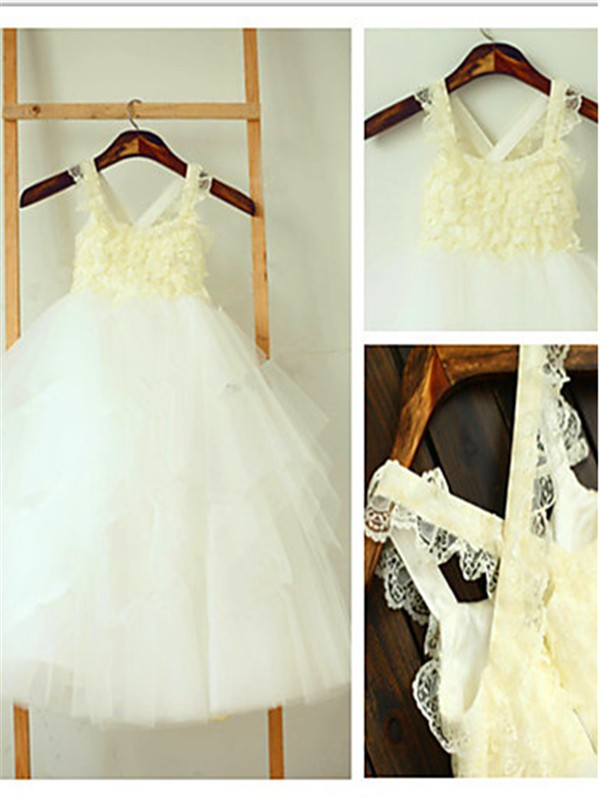 Ball Gown Tulle Square Sleeveless Tea-Length With Layers Flower Girl Dresses