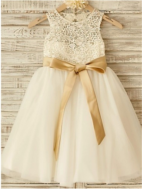 ec2af046cf5 A-Line Tulle Scoop Sleeveless Knee-Length With Bowknot Flower Girl Dresses