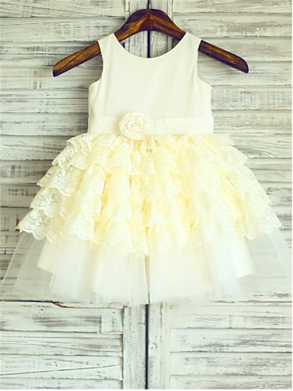 Ball Gown Lace Scoop Sleeveless Tea-Length With Layers Flower Girl Dresses