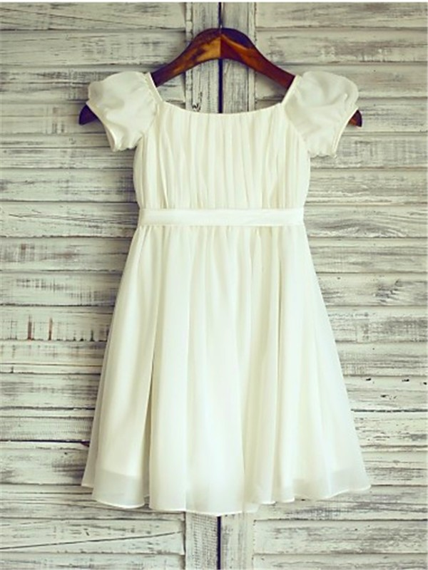 A-Line Chiffon Square Short Sleeves Tea-Length With Ruched Flower Girl Dresses
