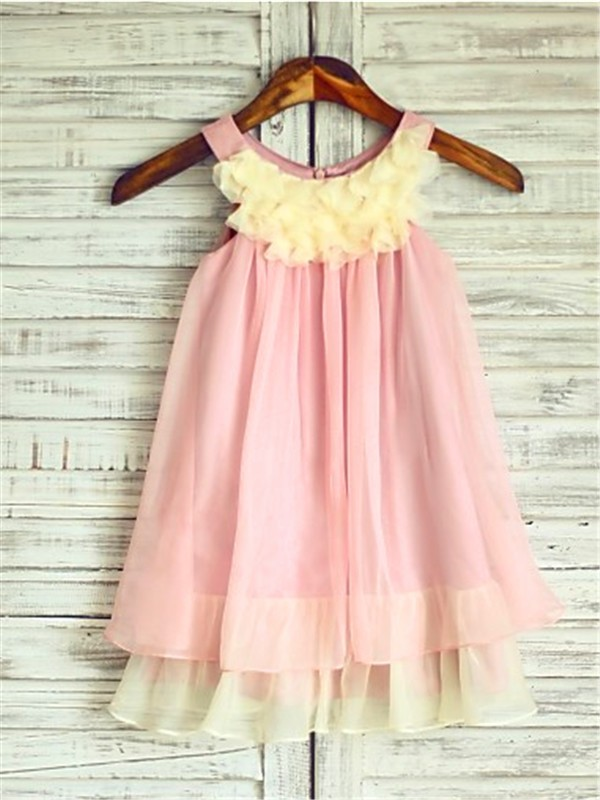 A-Line Chiffon Straps Sleeveless Tea-Length With Ruched Flower Girl Dresses