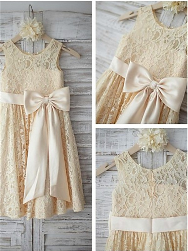 A-Line Lace Scoop Sleeveless Knee-Length With Bowknot Flower Girl Dresses