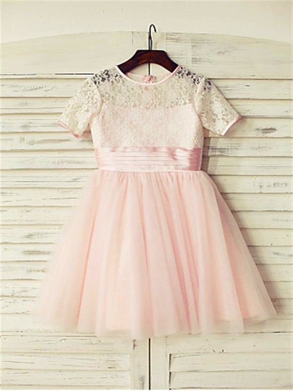 A-line/Princess Jewel Short Sleeves Lace Floor-Length Tulle Flower Girl Dresses