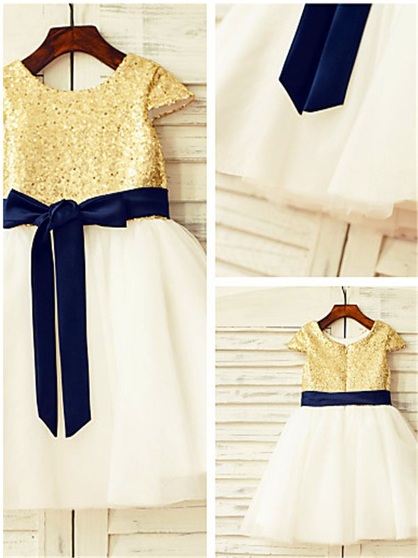 A-Line Tulle Scoop Short Sleeves Tea-Length With Sequin Flower Girl Dresses
